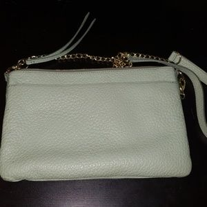 Mint&silver colored fossil crossbody bag- like new